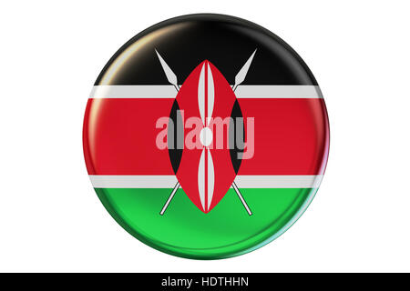 Badge with flag of Kenya, 3D rendering  isolated on white background - Stock Photo