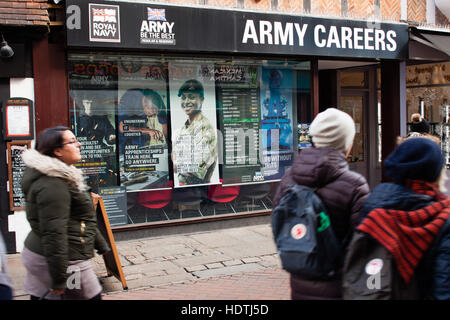 people passing by  of Army Careers recruiting office,  Canterbury, UK - Stock Photo