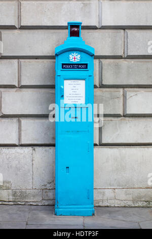 Police public call post in City of London Police light blue, Walbrook, City of London, UK - Stock Photo