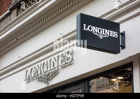 Longines store sign, Oxford Street, London, UK - Stock Photo