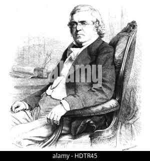 WILLIAM MAKEPEACE THACKERAY (1811-1863) English novelist in an engraving about 1855 - Stock Photo