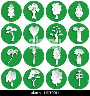 Set of different tree icons in paper style - Stock Photo