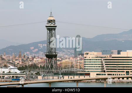 Central tower of port ropeway. Barcelona, Spain - Stock Photo