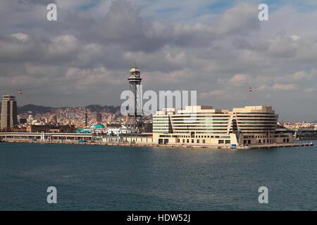 Ropeway on city. Barcelona, Spain - Stock Photo