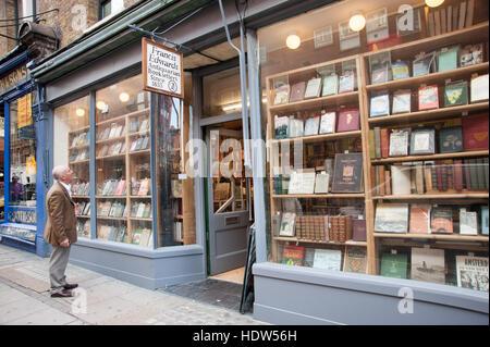 Francis Edwards Antiquarian bookshop in Charing Cross Road, London, England, UK - Stock Photo