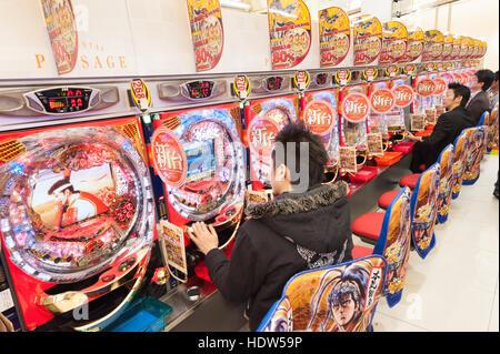 Pachinko parlour, Tokyo, Japan - Stock Photo
