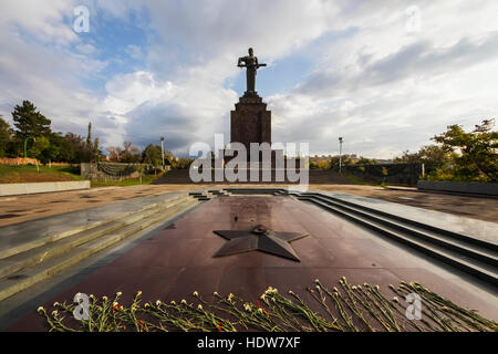 Commemoration of Soviet Armenia's participation in the second World War and monumental statue of Mother Armenia - Stock Photo
