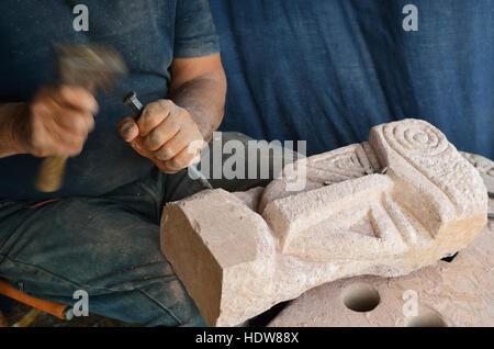 Sculptor Francesco Uccheddu; San Giovanni di Sinis, Cabras, Oristano, Sardinia, Italy - Stock Photo
