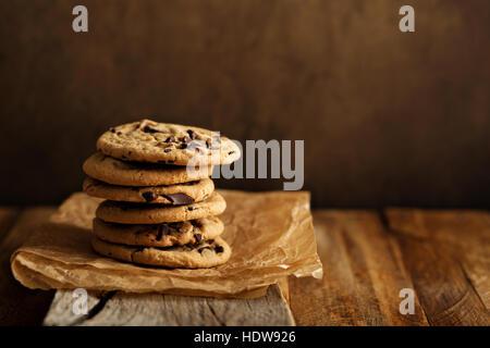 Homemade chocolate chip cookies with milk - Stock Photo