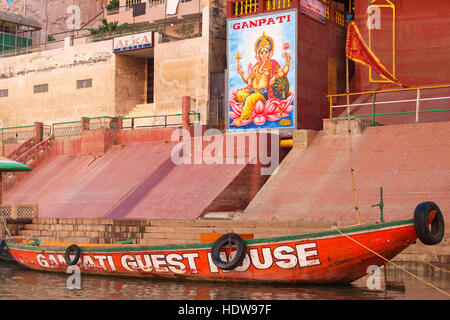 One of the Ghats on river Ganges. Varanasi, India. - Stock Photo