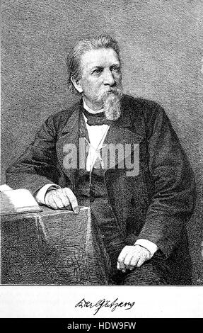 Karl Ferdinand Gutzkow, 1811-1878, a German writer, woodcut from the year 1880 - Stock Photo