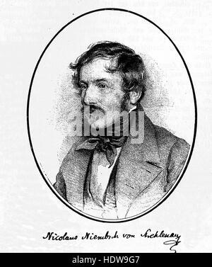 Nikolaus Lenau was the nom de plume of Nikolaus Franz Niembsch Edler von Strehlenau, 1802-1850, a German-language - Stock Photo