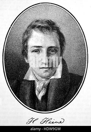Christian Johann Heinrich Heine, 1797-1856, a German poet, journalist, essayist, and literary critic, woodcut from - Stock Photo