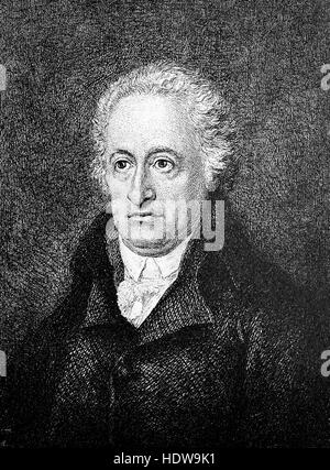 Johann Wolfgang von Goethe 57 years old, 1749-1832, a German writer and statesman, woodcut from the year 1880 - Stock Photo