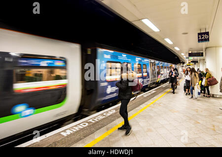 A train arriving at New St Station, Birmingham, England, UK - Stock Photo