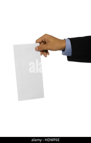 Business man showing blank envelope isolated over white background. You can put your message on the envelope - Stock Photo