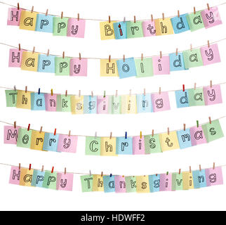 Collection of hanging words on the rope isolated over white background - Stock Photo