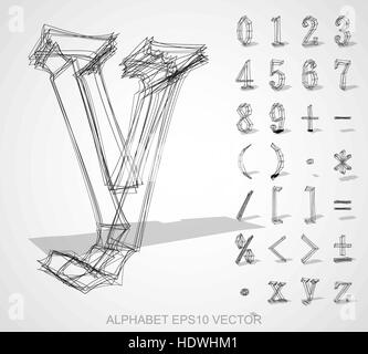 Abstract illustration of a sketched Numbers And Mathematical Symbols with transparent shadow. Set of hand drawn - Stock Photo