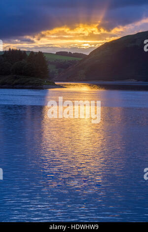 View of Llyn Clywedog at sunset. Near Llanidloes, Powys, Wales. September. - Stock Photo