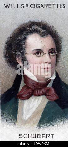 FRANZ SCHUBERT (1797-1828) Austrian composer on a Will's cigarette card about 1914 - Stock Photo