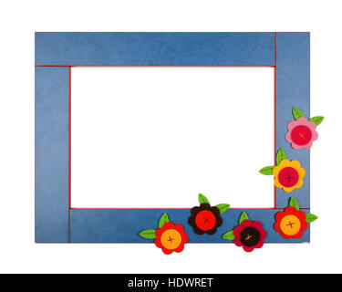 Art children frame with velvet flowers on a white background. Isolated - Stock Photo
