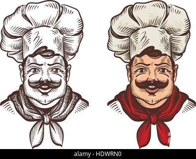 Chef face caricature cartoon. Vector illustration - Stock Photo