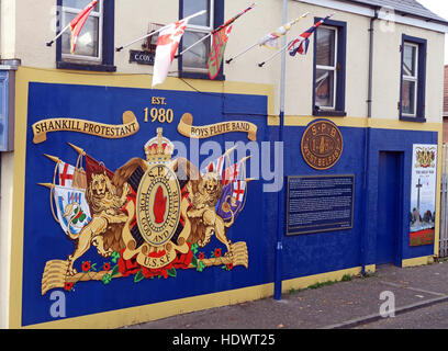 Shankill Protestant Boys Flute Band mural, off Shankill Road West Belfast,Northern Ireland,UK - Stock Photo