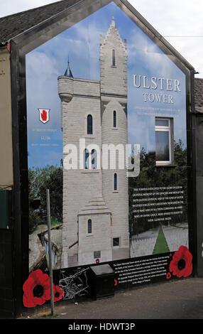 Ulster Tower mural, off Shankill Road West Belfast,Northern Ireland,UK - Stock Photo