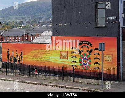 UFF Unionist mural, off Glenwood St/Shankill Road West Belfast,Northern Ireland,UK - A Company battalion - Stock Photo
