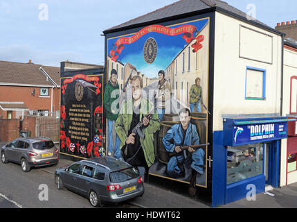 UFF volunteers Unionist mural, off Shankill Road West Belfast,Northern Ireland,UK - Stock Photo