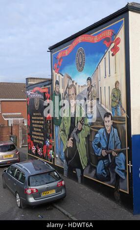 Ulster Volunteers Unionist mural, off Shankill Road West Belfast,Northern Ireland,UK - Stock Photo