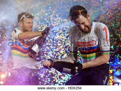 File photo dated 30-10-2016. Sir Bradley Wiggins and Mark Cavendish finished second at the London Six Day in what - Stock Photo