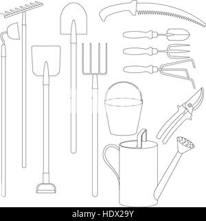 Vector set of hand tools for working in the garden - Stock Photo