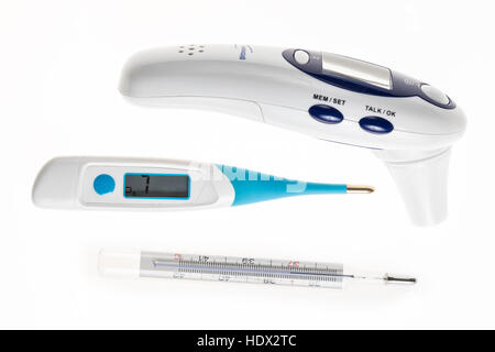 Fever thermometer, digital thermometer, digital mercury thermometer, temperature monitor, ear thermometer, - Stock Photo