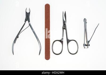 Nail care tools, nail clippers, nail scissors, nail nippers, nail files, - Stock Photo