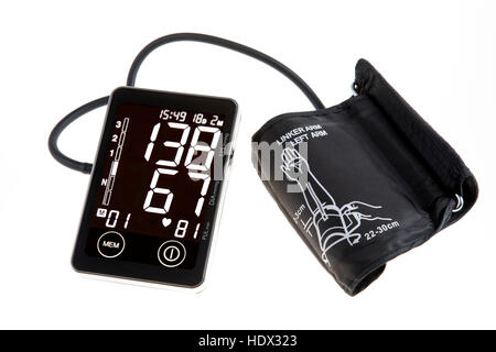 Blood pressure monitor, digital display, upper arm cuff, for self-measurement, - Stock Photo