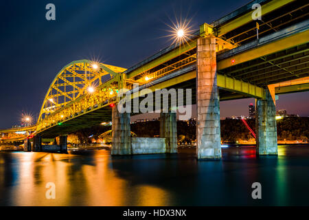 Fort Duquesne Bridge spans Allegheny river in Pittsburgh, Pennsylvania - Stock Photo