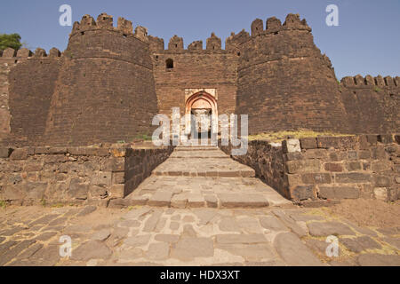 Fortified entrance to the citadel inside Daulatabad Fortress in Maharashtra, India. 14th Century AD - Stock Photo