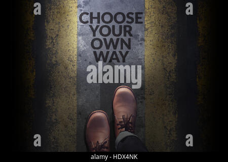 Top view, Male with Leather Shoes, Steps on Concrete Floor with word : Choose your own way, Making Decision in life - Stock Photo