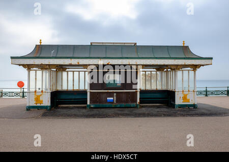 Seafront shelter on promenade at Hove, Brighton, East Sussex, England - Stock Photo