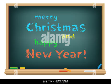 The blackboard with Santa message Merry Christmas and Happy New Year on white background. Congratulations multicolor - Stock Photo