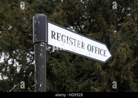 Sign pointing to a register office, at Salisbury, Wiltshire - Stock Photo