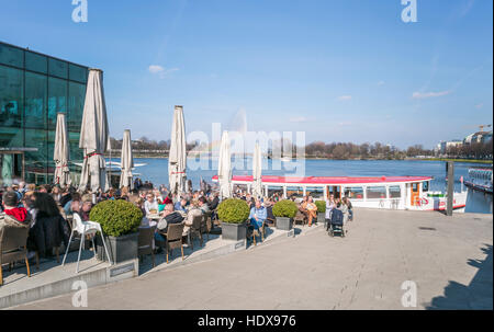 Hamburg Inner Alster Lake with Fountain - Stock Photo