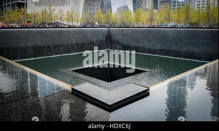 Fountain at 911 Memorial - Stock Photo