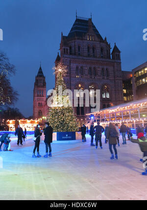 Skaters on ice rink in front of the Natural History Museum - Stock Photo