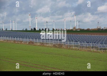 renewable energy at a20 motorway, mecklenburg-western pomerania, germany - Stock Photo