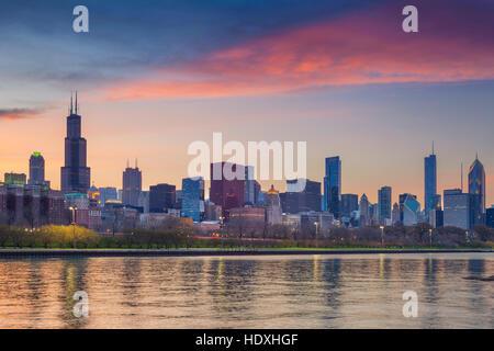 Chicago Skyline. Cityscape image of Chicago skyline during sunset. - Stock Photo