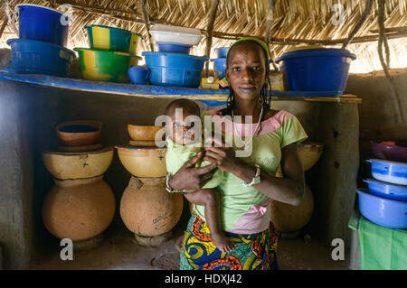 Rural life in a Fulani village of the Sahel in northeastern Burkina Faso - Stock Photo