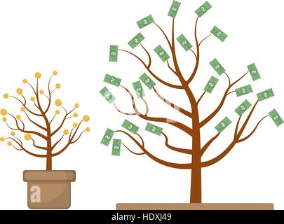 Tree with money. Coins and dollars. Evolution, growth, progressive concept. Flat design, isolated white background. - Stock Photo