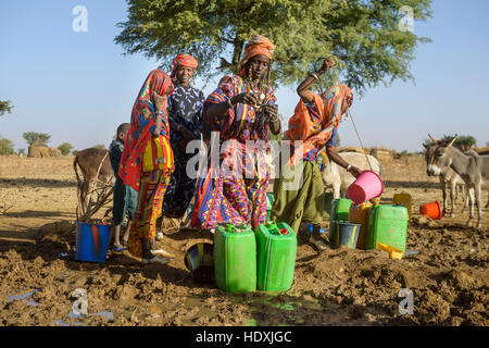 Fulani women gathering water from a hole in the Sahel, Burkina Faso - Stock Photo